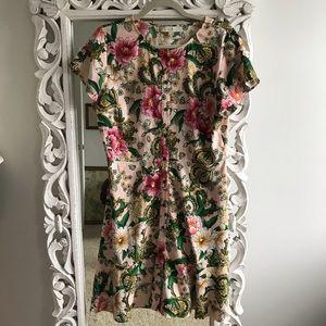 Loft Pink Floral & Paisley Button Up Dress